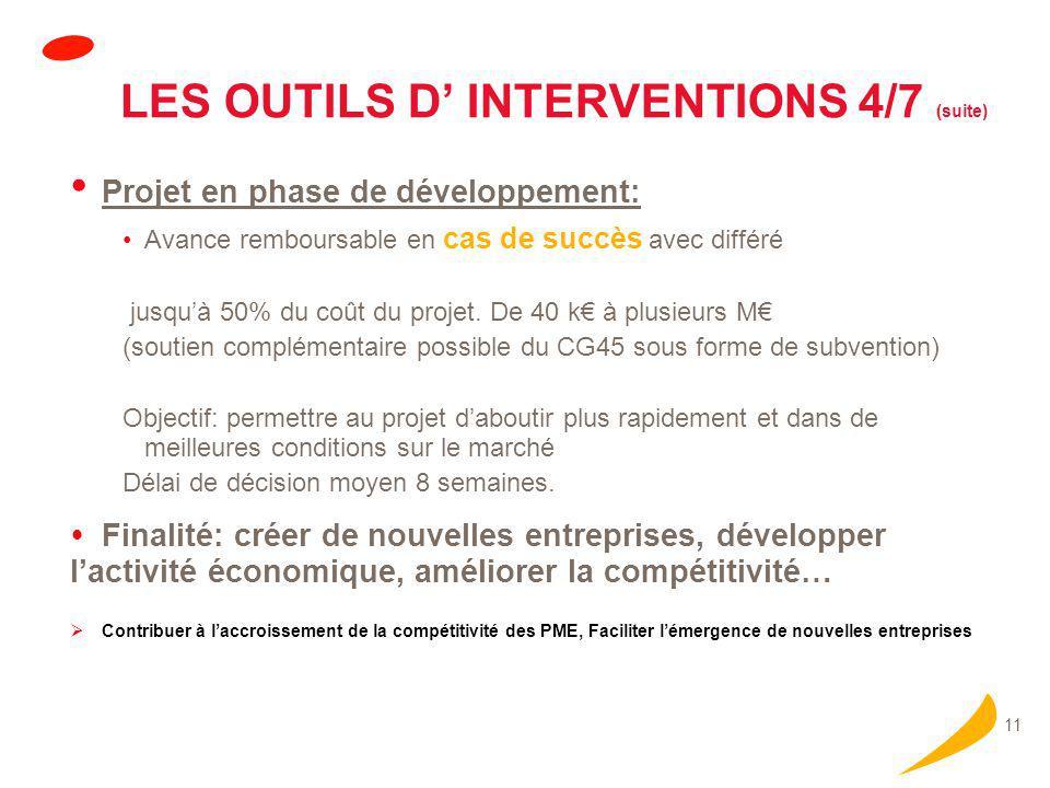 11 LES OUTILS D' INTERVENTIONS 4/7 (suite) Projet en phase de développement: Avance remboursable en cas de succès avec différé jusqu'à 50% du coût du projet.