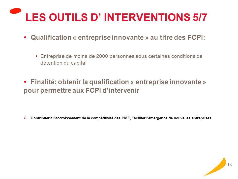 13 LES OUTILS D' INTERVENTIONS 5/7  Qualification « entreprise innovante » au titre des FCPI: Entreprise de moins de 2000 personnes sous certaines co