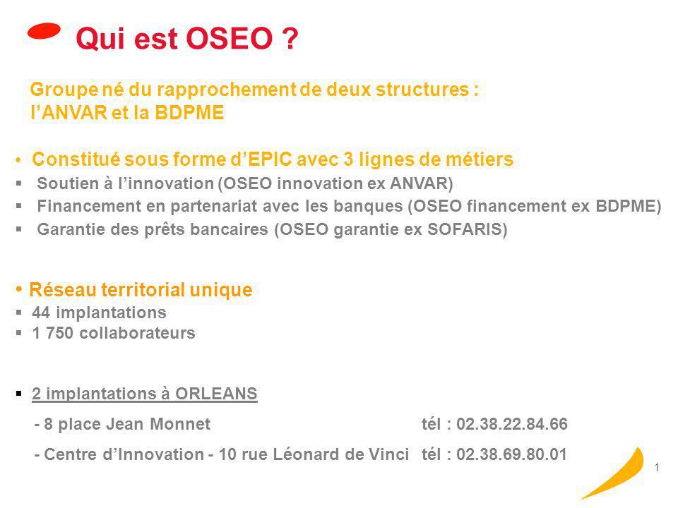 1 Qui est OSEO ? Groupe né du rapprochement de deux structures : l'ANVAR et la BDPME Constitué sous forme d'EPIC avec 3 lignes de métiers  Soutien à