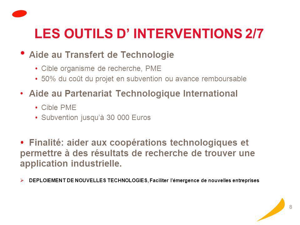 8 LES OUTILS D' INTERVENTIONS 2/7 Aide au Transfert de Technologie Cible organisme de recherche, PME 50% du coût du projet en subvention ou avance rem