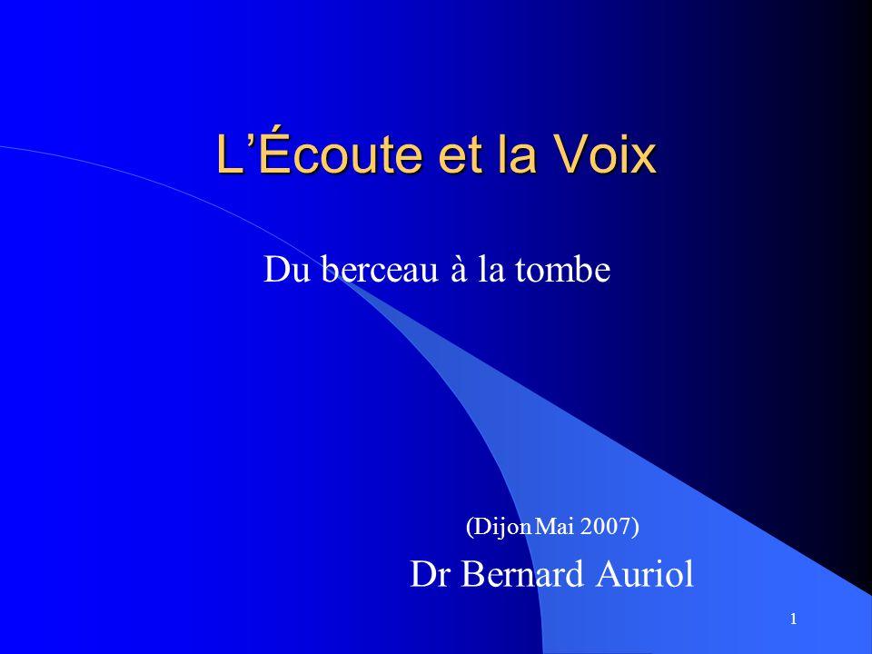 1 L'Écoute et la Voix (Dijon Mai 2007) Dr Bernard Auriol Du berceau à la tombe