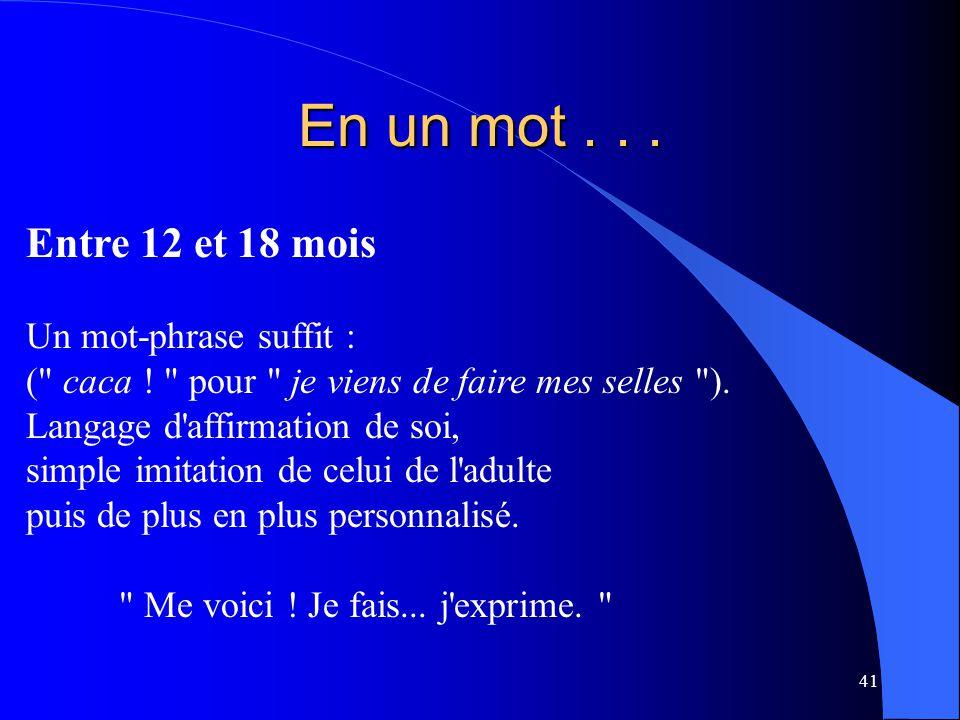 41 En un mot... Entre 12 et 18 mois Un mot-phrase suffit : (