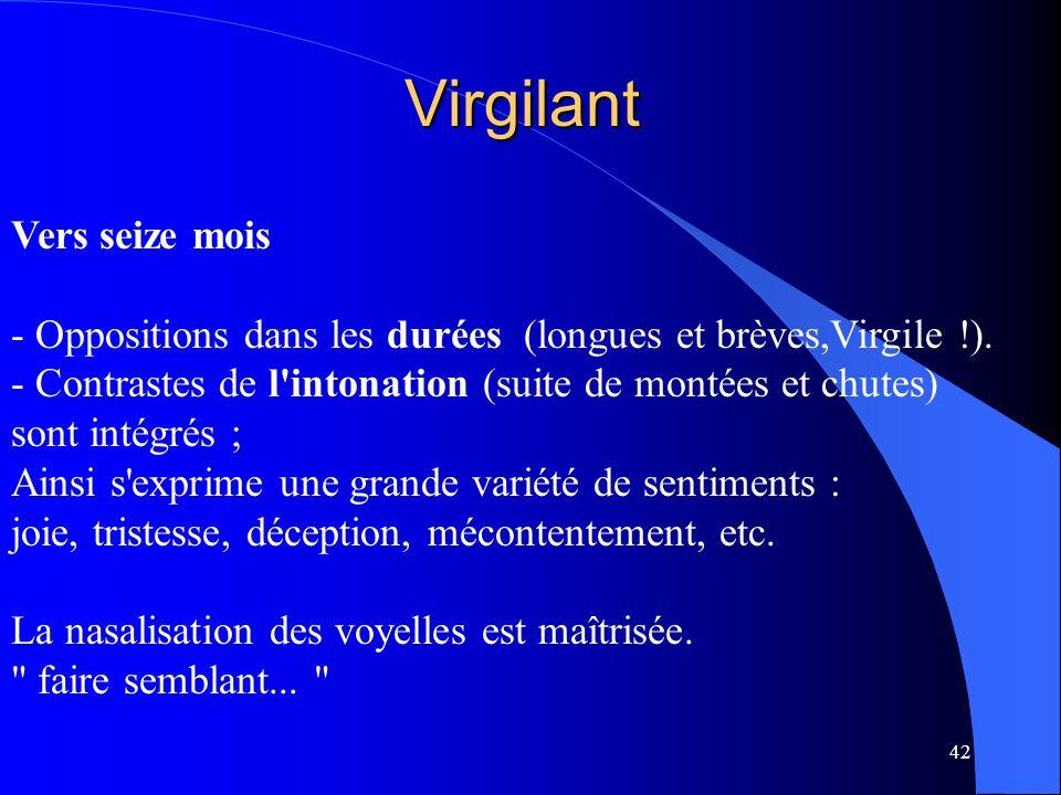 42 Virgilant Vers seize mois - Oppositions dans les durées (longues et brèves,Virgile !). - Contrastes de l'intonation (suite de montées et chutes) so