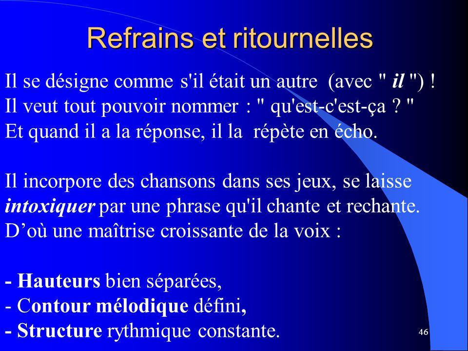 46 Refrains et ritournelles Il se désigne comme s'il était un autre (avec