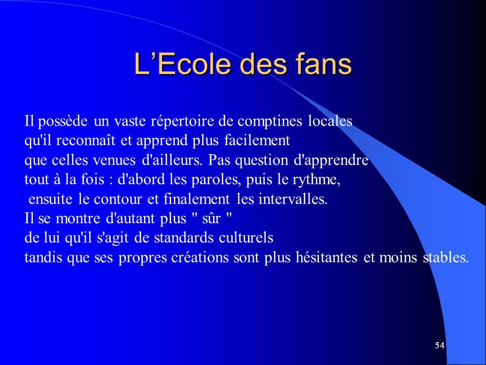 54 L'Ecole des fans Il possède un vaste répertoire de comptines locales qu'il reconnaît et apprend plus facilement que celles venues d'ailleurs. Pas q