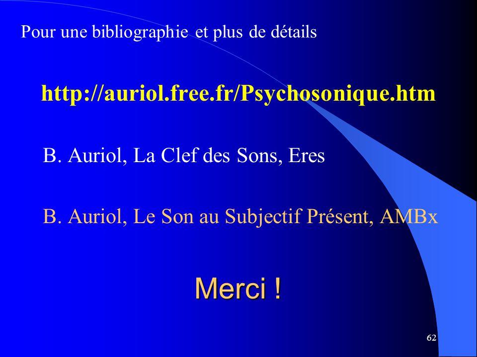 62 Merci ! http://auriol.free.fr/Psychosonique.htm B. Auriol, La Clef des Sons, Eres B. Auriol, Le Son au Subjectif Présent, AMBx Pour une bibliograph