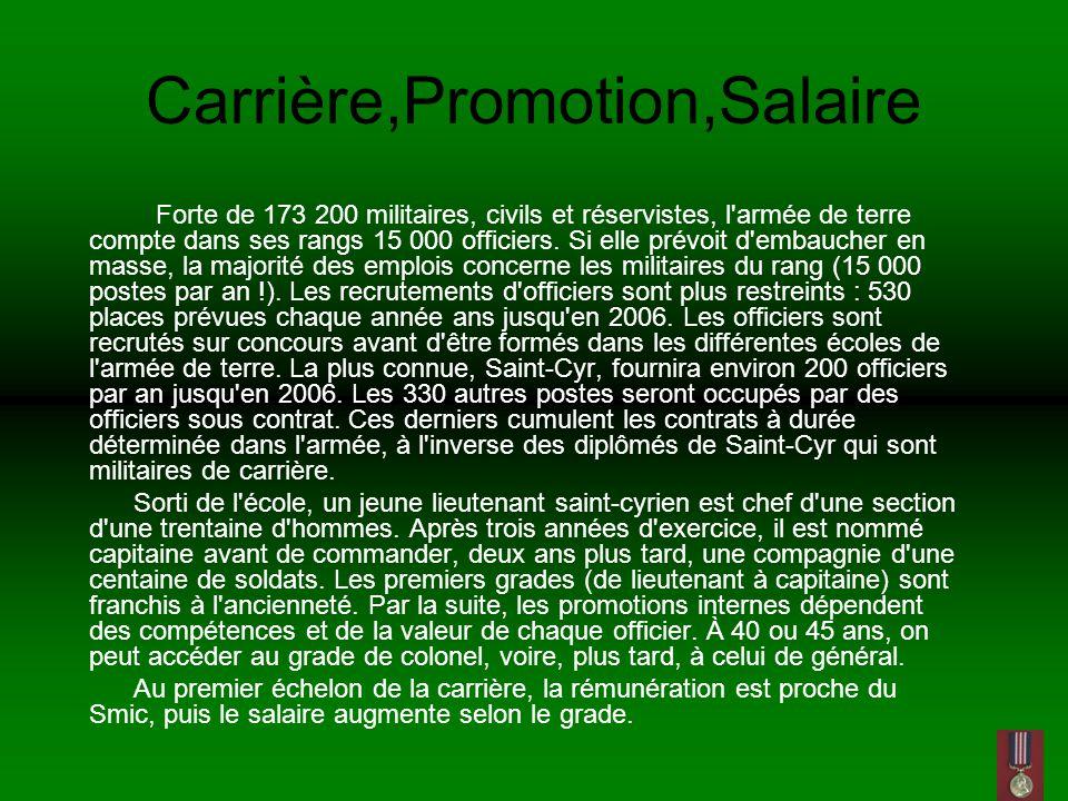 Carrière,Promotion,Salaire Forte de 173 200 militaires, civils et réservistes, l armée de terre compte dans ses rangs 15 000 officiers.
