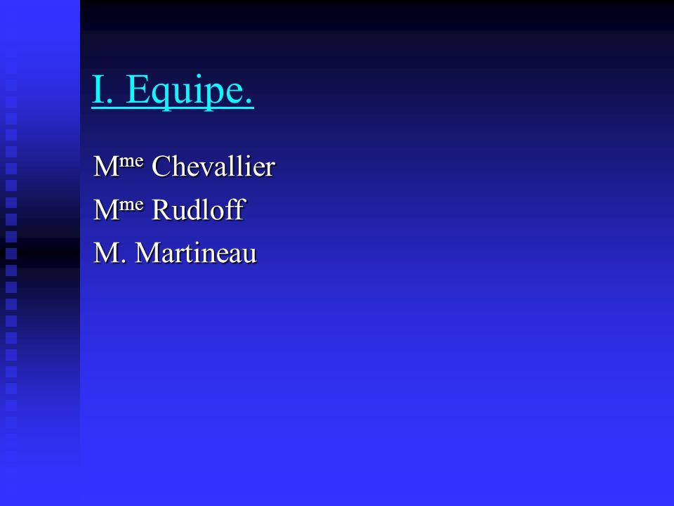 I. Equipe. M me Chevallier M me Rudloff M. Martineau