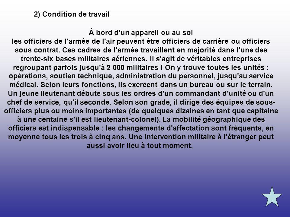 2) Condition de travail À bord d'un appareil ou au sol les officiers de l'armée de l'air peuvent être officiers de carrière ou officiers sous contrat.