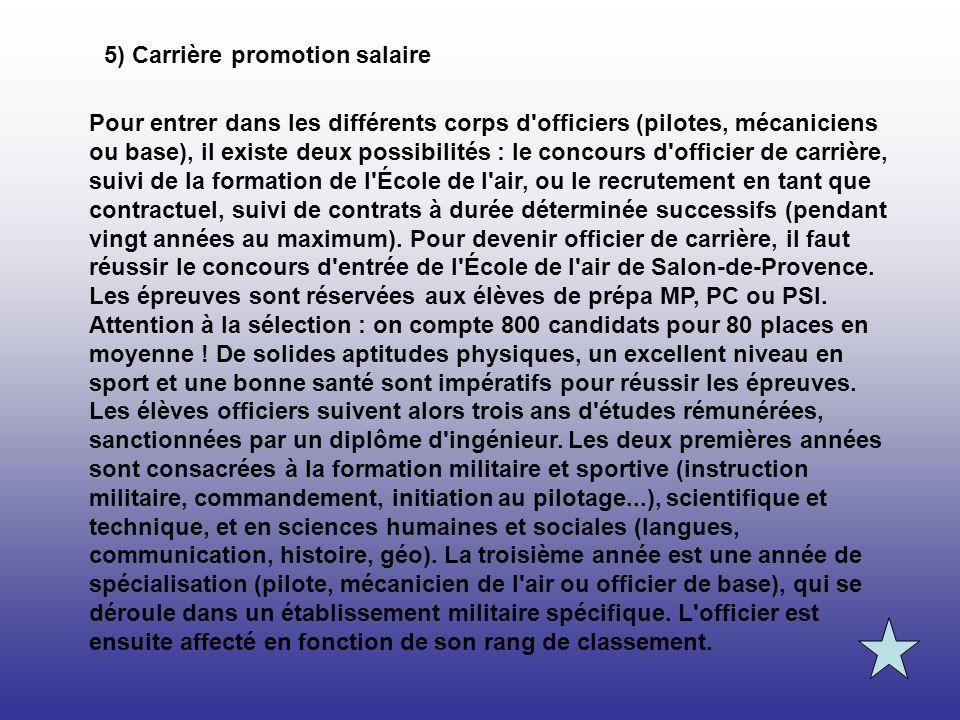 5) Carrière promotion salaire Pour entrer dans les différents corps d'officiers (pilotes, mécaniciens ou base), il existe deux possibilités : le conco