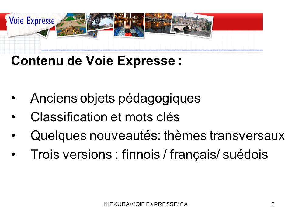 KIEKURA/VOIE EXPRESSE/ CA3 Comment mettre en ligne les productions numériques: –Wordpress –Penser au format –Ajouter les mots clés –Niveau du cadre européen de référence –Rubrique(s) –Envoi séparé du document, des photos ou du son