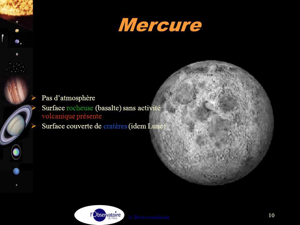 A. Doressoundiram 10 Mercure  Pas d'atmosphère  Surface rocheuse (basalte) sans activité volcanique présente  Surface couverte de cratères (idem Lu