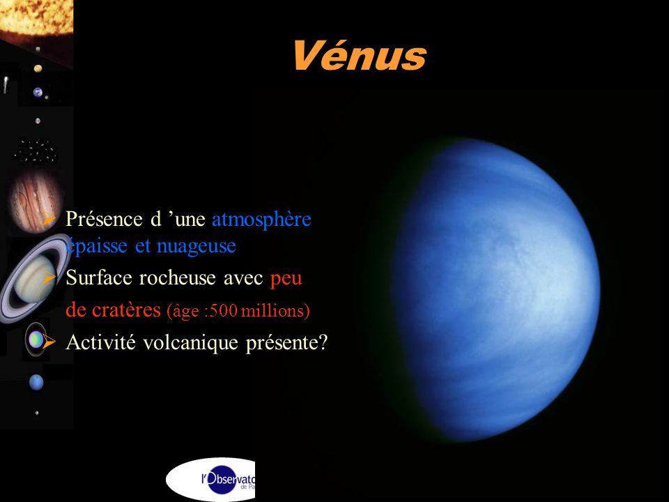 A. Doressoundiram 11 Vénus  Présence d 'une atmosphère épaisse et nuageuse  Surface rocheuse avec peu de cratères (âge :500 millions)  Activité vol