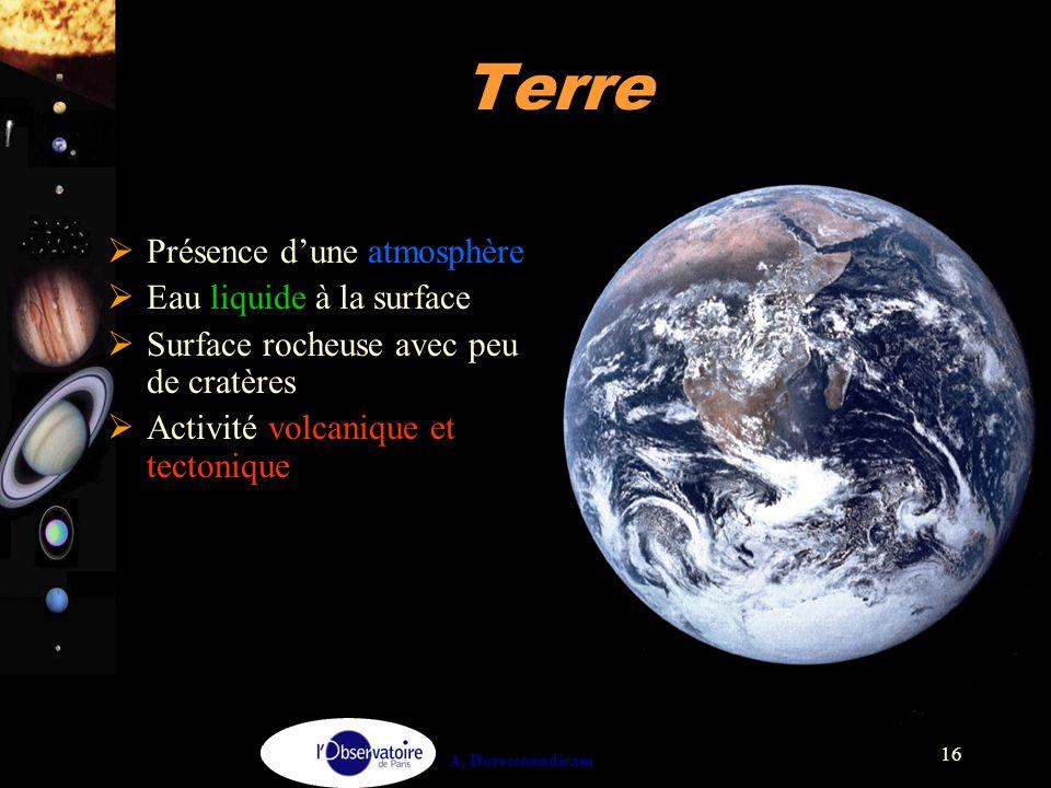 A. Doressoundiram 16 Terre  Présence d'une atmosphère  Eau liquide à la surface  Surface rocheuse avec peu de cratères  Activité volcanique et tec