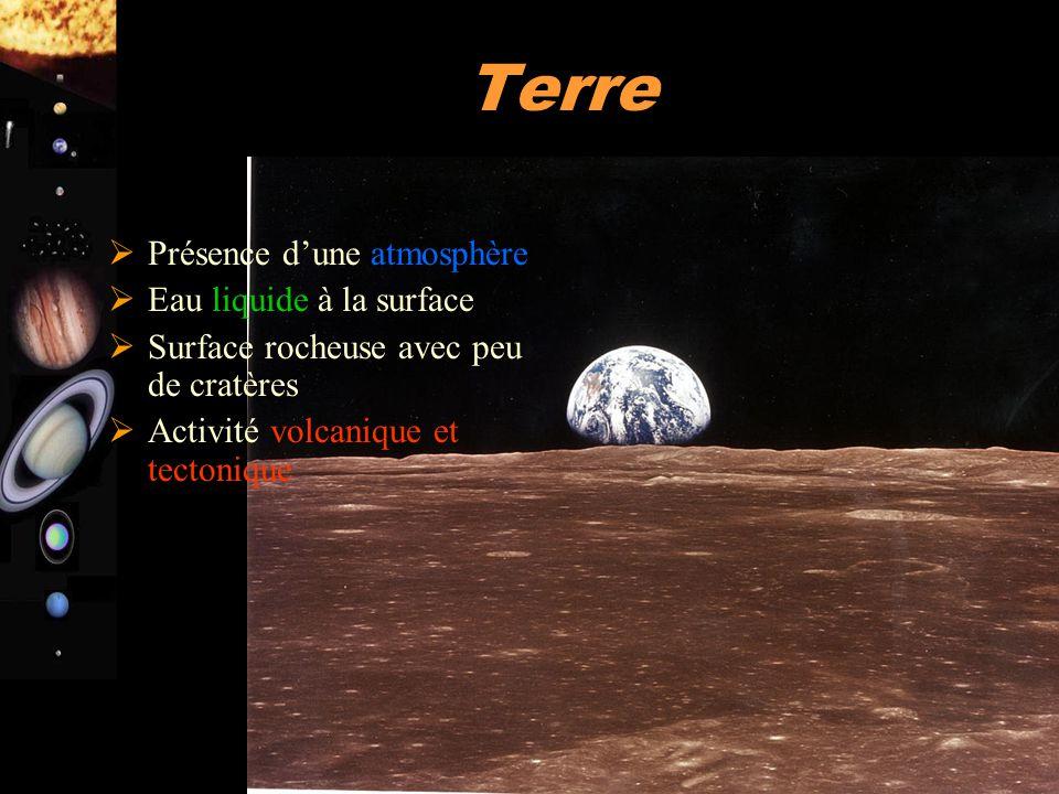 A. Doressoundiram 18 Terre  Présence d'une atmosphère  Eau liquide à la surface  Surface rocheuse avec peu de cratères  Activité volcanique et tec