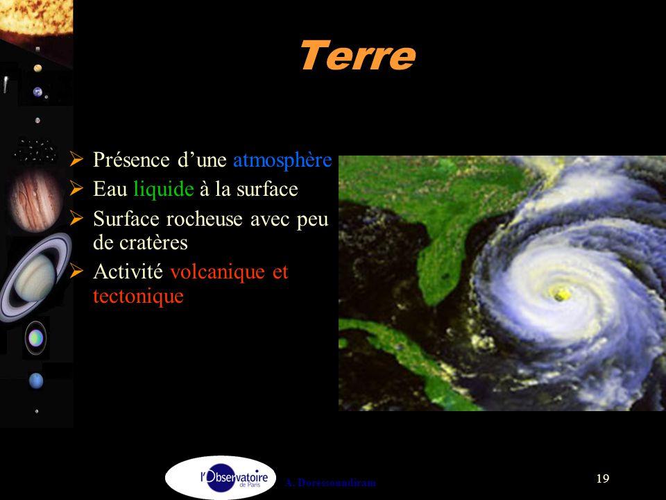 A. Doressoundiram 19 Terre  Présence d'une atmosphère  Eau liquide à la surface  Surface rocheuse avec peu de cratères  Activité volcanique et tec