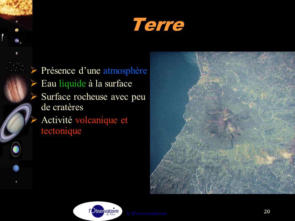 A. Doressoundiram 20 Terre  Présence d'une atmosphère  Eau liquide à la surface  Surface rocheuse avec peu de cratères  Activité volcanique et tec