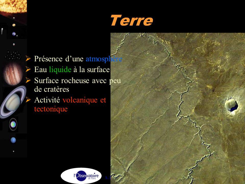 A. Doressoundiram 21 Terre  Présence d'une atmosphère  Eau liquide à la surface  Surface rocheuse avec peu de cratères  Activité volcanique et tec
