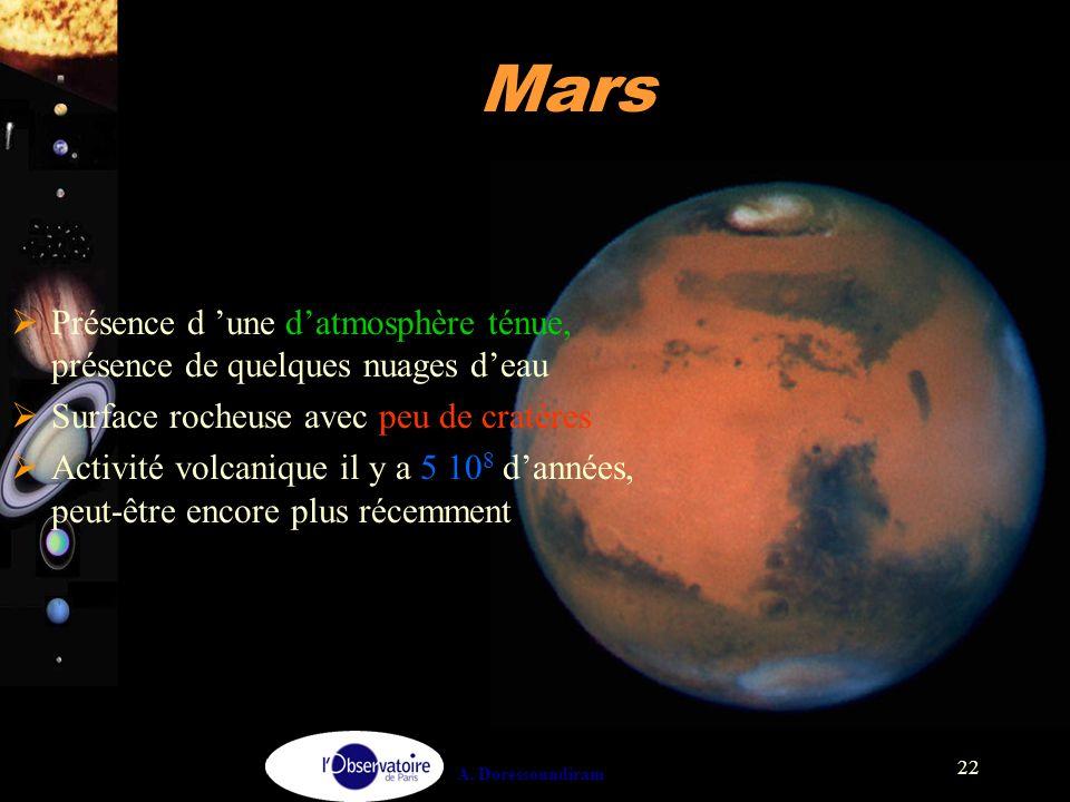 A. Doressoundiram 22 Mars  Présence d 'une d'atmosphère ténue, présence de quelques nuages d'eau  Surface rocheuse avec peu de cratères  Activité v