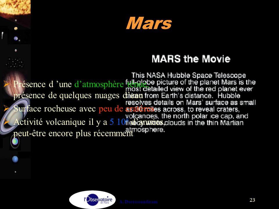 A. Doressoundiram 23 Mars  Présence d 'une d'atmosphère ténue, présence de quelques nuages d'eau  Surface rocheuse avec peu de cratères  Activité v
