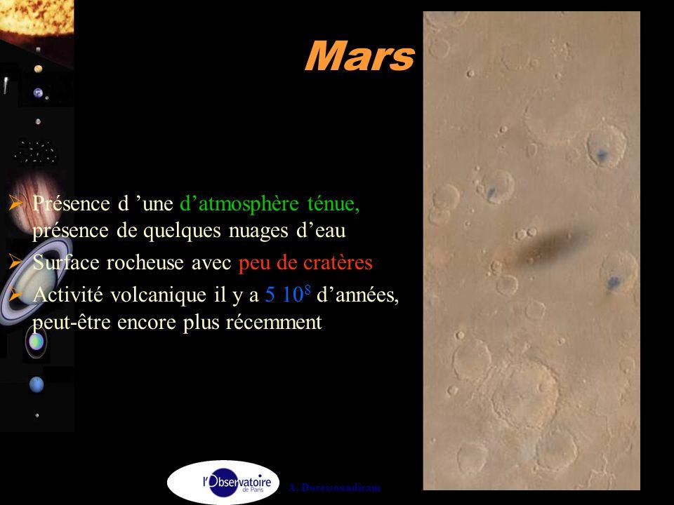 A. Doressoundiram 25 Mars  Présence d 'une d'atmosphère ténue, présence de quelques nuages d'eau  Surface rocheuse avec peu de cratères  Activité v