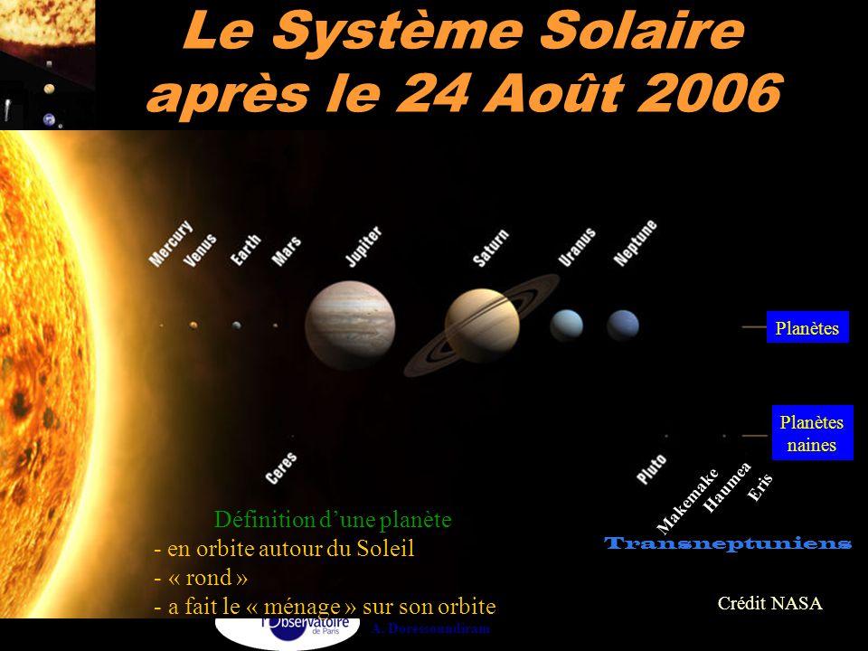 A. Doressoundiram Le Système Solaire après le 24 Août 2006 Crédit NASA Planètes naines Définition d'une planète - en orbite autour du Soleil - « rond