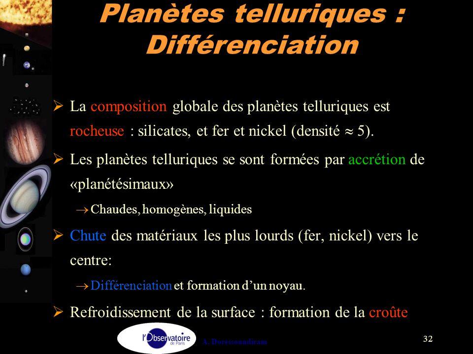 A. Doressoundiram 32  La composition globale des planètes telluriques est rocheuse : silicates, et fer et nickel (densité  5).  Les planètes tellur