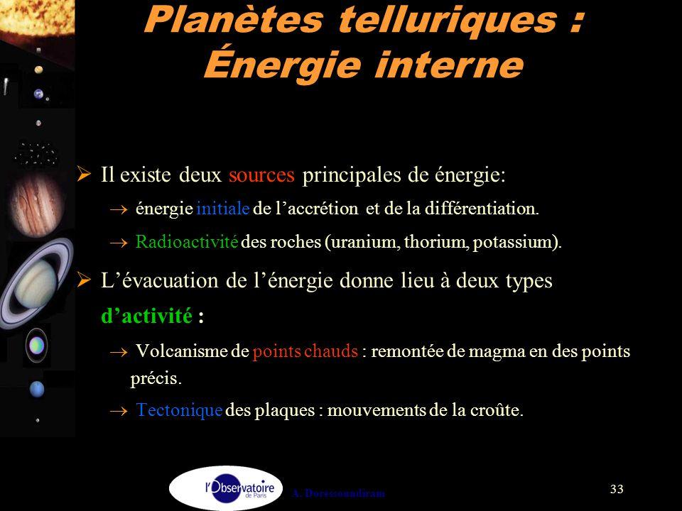 A. Doressoundiram 33  Il existe deux sources principales de énergie:  énergie initiale de l'accrétion et de la différentiation.  Radioactivité des