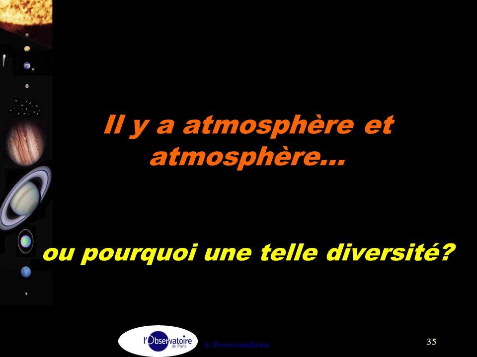 A. Doressoundiram 35 Il y a atmosphère et atmosphère… ou pourquoi une telle diversité?