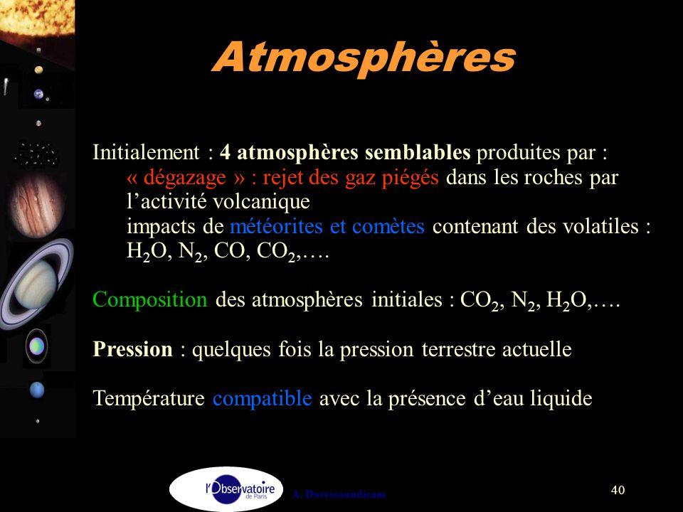 A. Doressoundiram 40 Initialement : 4 atmosphères semblables produites par : « dégazage » : rejet des gaz piégés dans les roches par l'activité volcan