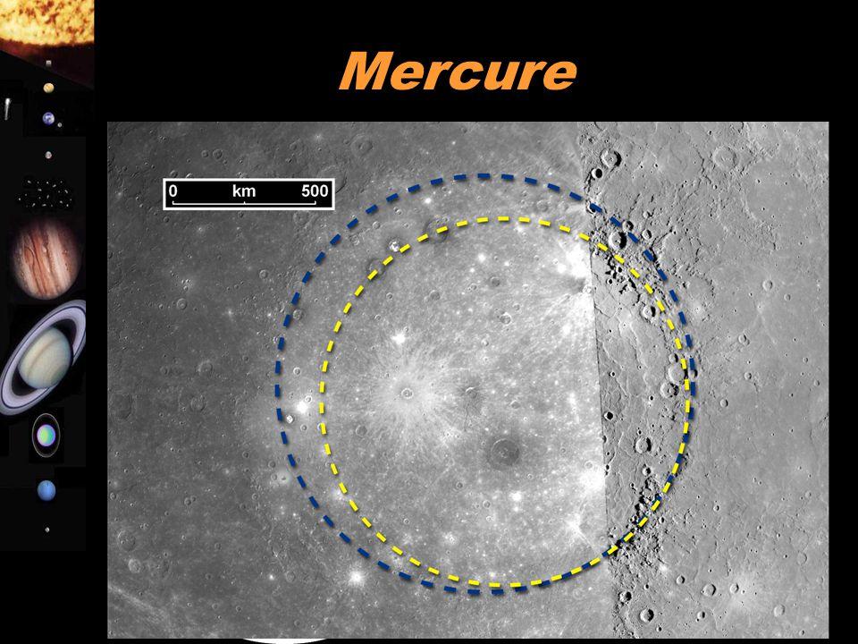 A. Doressoundiram 8 Mercure  Pas d'atmosphère  Surface rocheuse (basalte) sans activité volcanique présente  Surface couverte de cratères (idem Lun