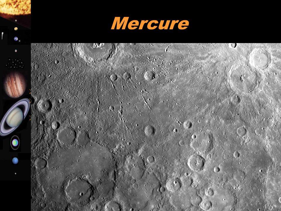 A. Doressoundiram 9 Mercure  Pas d'atmosphère  Surface rocheuse (basalte) sans activité volcanique présente  Surface couverte de cratères (idem Lun
