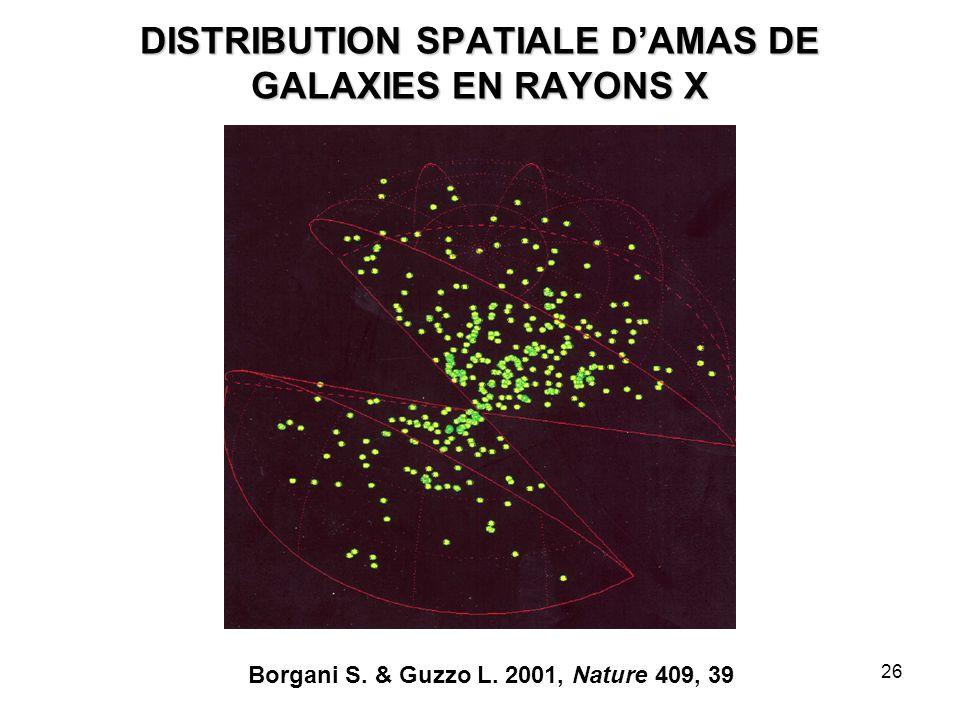 26 DISTRIBUTION SPATIALE D'AMAS DE GALAXIES EN RAYONS X Borgani S. & Guzzo L. 2001, Nature 409, 39
