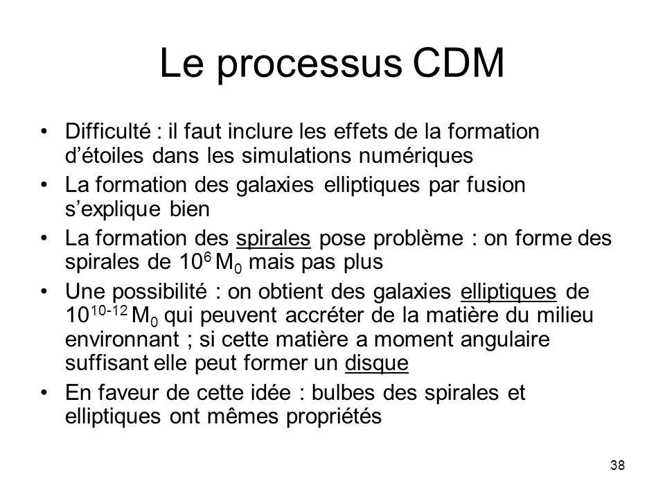 38 Le processus CDM Difficulté : il faut inclure les effets de la formation d'étoiles dans les simulations numériques La formation des galaxies ellipt