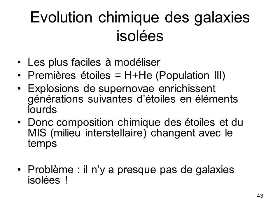 43 Evolution chimique des galaxies isolées Les plus faciles à modéliser Premières étoiles = H+He (Population III) Explosions de supernovae enrichissen