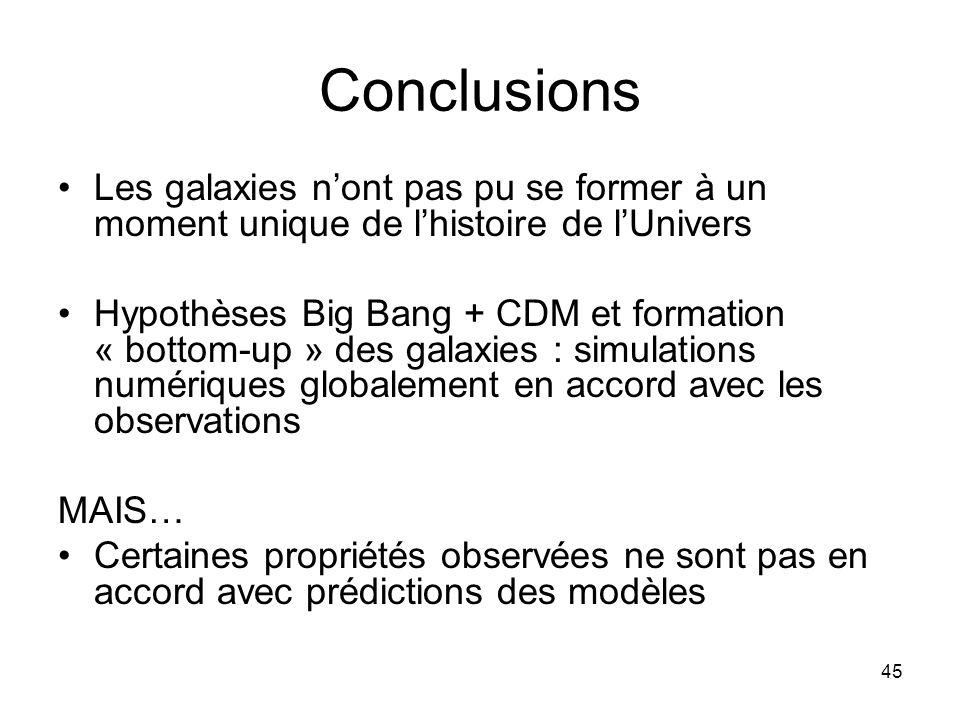 45 Conclusions Les galaxies n'ont pas pu se former à un moment unique de l'histoire de l'Univers Hypothèses Big Bang + CDM et formation « bottom-up »