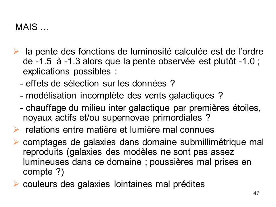 47 MAIS …  la pente des fonctions de luminosité calculée est de l'ordre de -1.5 à -1.3 alors que la pente observée est plutôt -1.0 ; explications pos