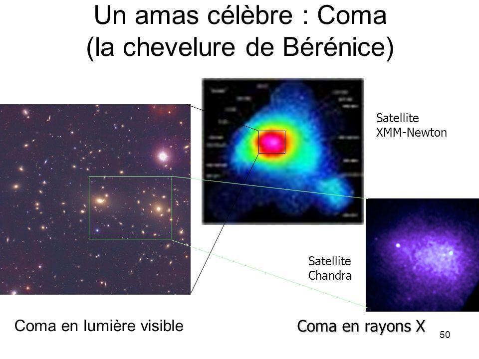 50 Un amas célèbre : Coma (la chevelure de Bérénice) Coma en lumière visible Coma en rayons X Satellite XMM-Newton Satellite Chandra