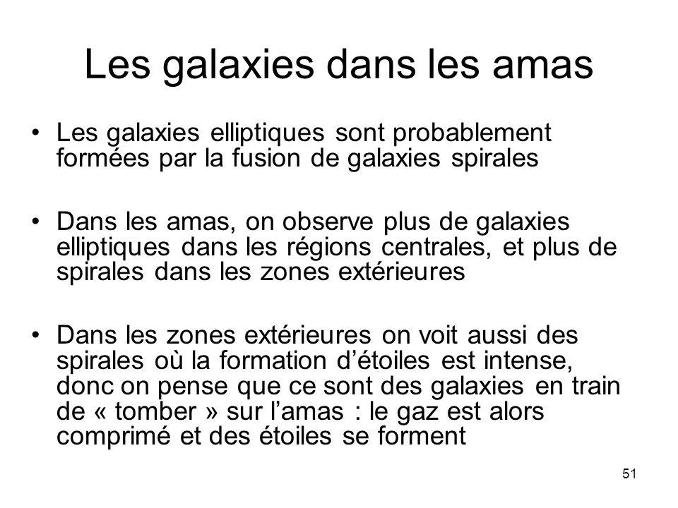 51 Les galaxies dans les amas Les galaxies elliptiques sont probablement formées par la fusion de galaxies spirales Dans les amas, on observe plus de
