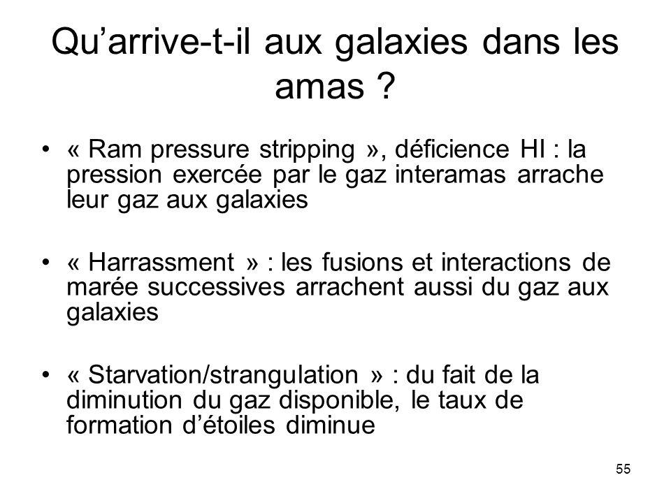 55 Qu'arrive-t-il aux galaxies dans les amas ? « Ram pressure stripping », déficience HI : la pression exercée par le gaz interamas arrache leur gaz a