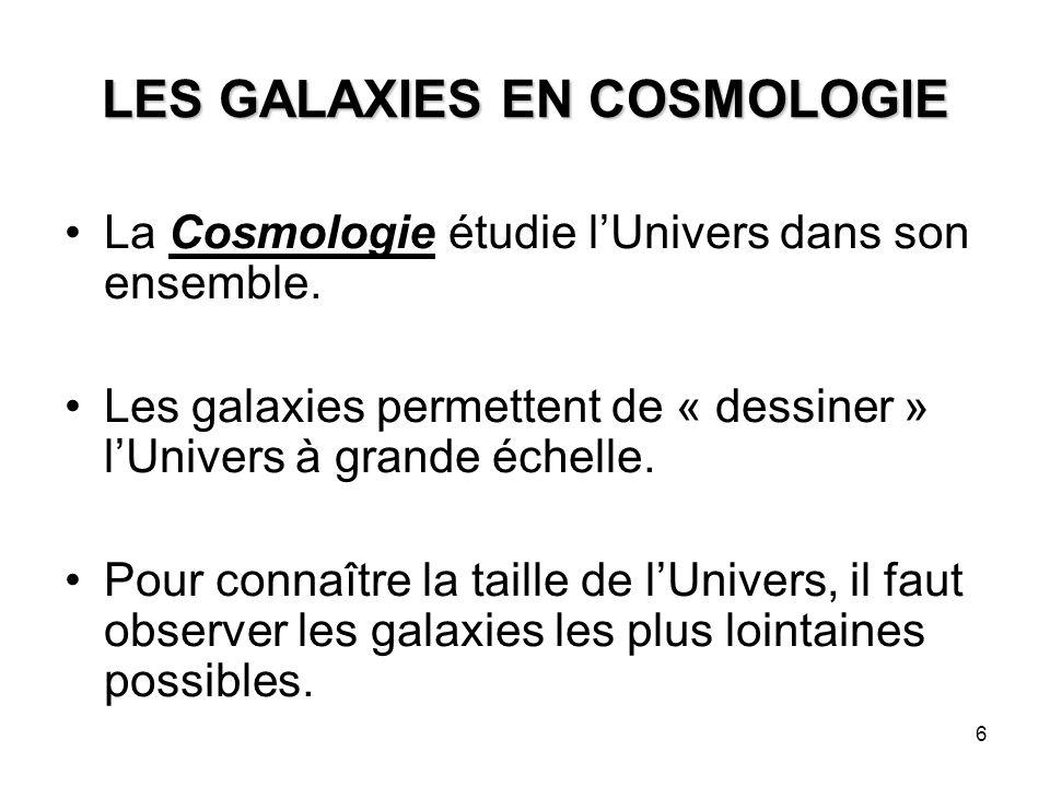 6 LES GALAXIES EN COSMOLOGIE La Cosmologie étudie l'Univers dans son ensemble. Les galaxies permettent de « dessiner » l'Univers à grande échelle. Pou