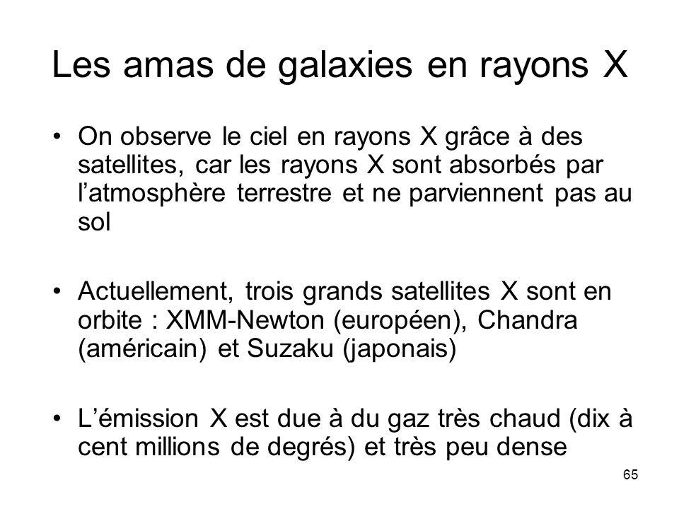 65 Les amas de galaxies en rayons X On observe le ciel en rayons X grâce à des satellites, car les rayons X sont absorbés par l'atmosphère terrestre e