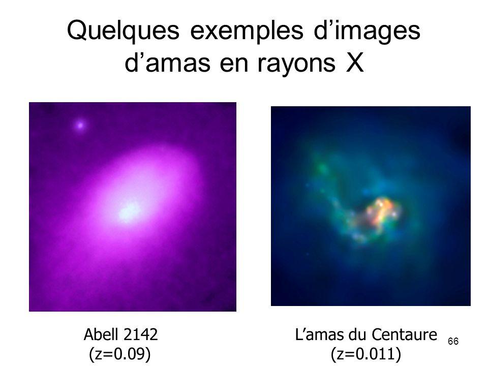 66 Quelques exemples d'images d'amas en rayons X Abell 2142 (z=0.09) L'amas du Centaure (z=0.011)