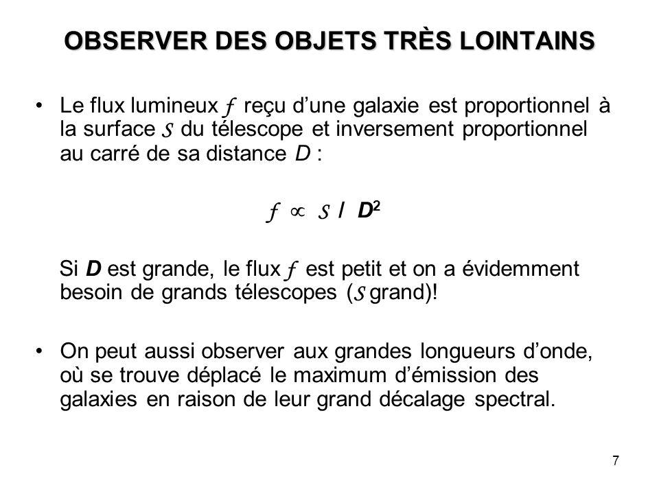 7 OBSERVER DES OBJETS TRÈS LOINTAINS Le flux lumineux f reçu d'une galaxie est proportionnel à la surface S du télescope et inversement proportionnel