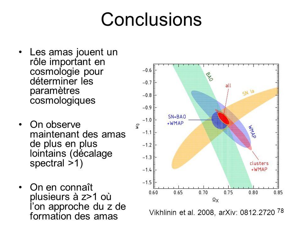 78 Conclusions Les amas jouent un rôle important en cosmologie pour déterminer les paramètres cosmologiques On observe maintenant des amas de plus en