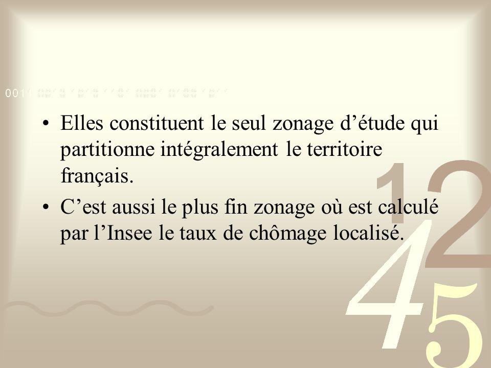 Elles constituent le seul zonage d'étude qui partitionne intégralement le territoire français. C'est aussi le plus fin zonage où est calculé par l'Ins