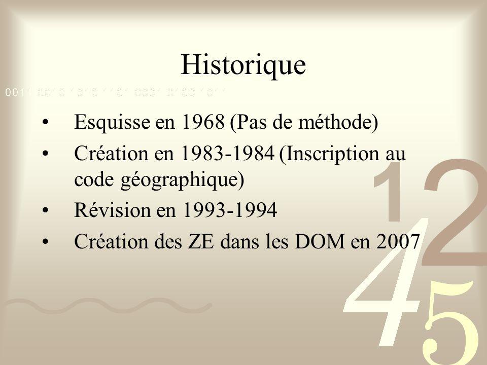 Historique Esquisse en 1968 (Pas de méthode) Création en 1983-1984 (Inscription au code géographique) Révision en 1993-1994 Création des ZE dans les DOM en 2007