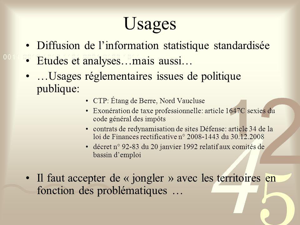 Usages Diffusion de l'information statistique standardisée Etudes et analyses…mais aussi… …Usages réglementaires issues de politique publique: CTP: Ét