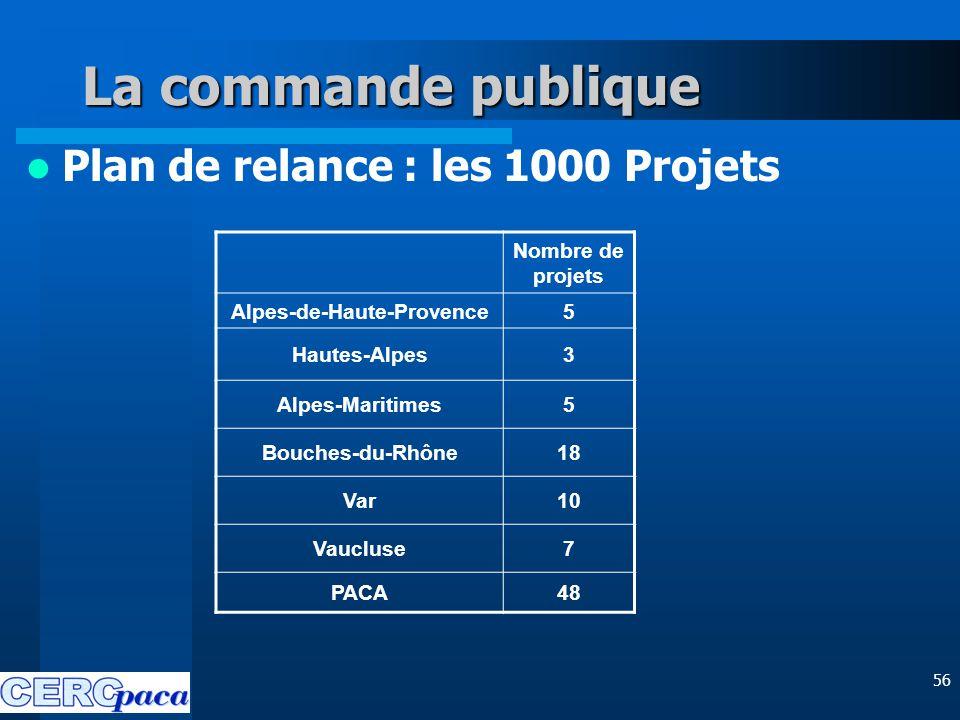 56 La commande publique Plan de relance : les 1000 Projets Nombre de projets Alpes-de-Haute-Provence5 Hautes-Alpes3 Alpes-Maritimes5 Bouches-du-Rhône18 Var10 Vaucluse7 PACA48