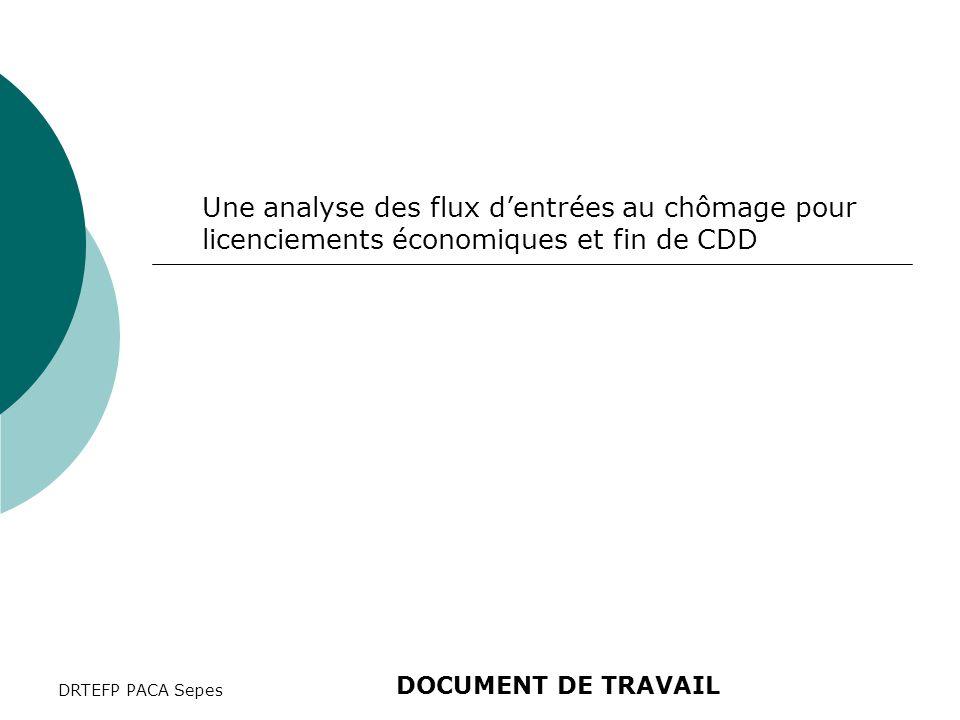 DRTEFP PACA Sepes Une analyse des flux d'entrées au chômage pour licenciements économiques et fin de CDD DOCUMENT DE TRAVAIL